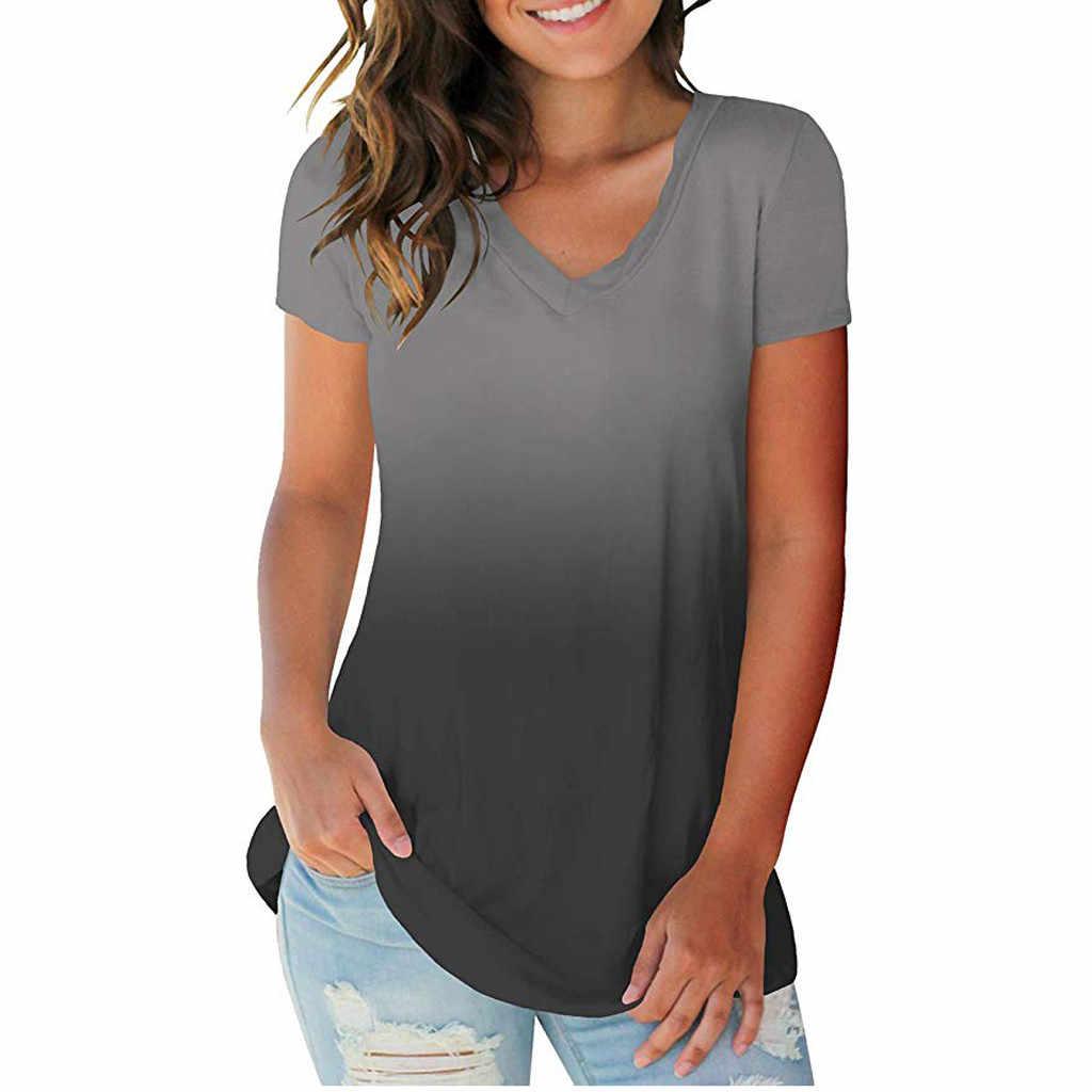 Повседневные летние женские футболки размера плюс, градиентные цвета, v-образный вырез, топы, футболка 2019, женская футболка с коротким рукавом для женщин, футболки 5,6
