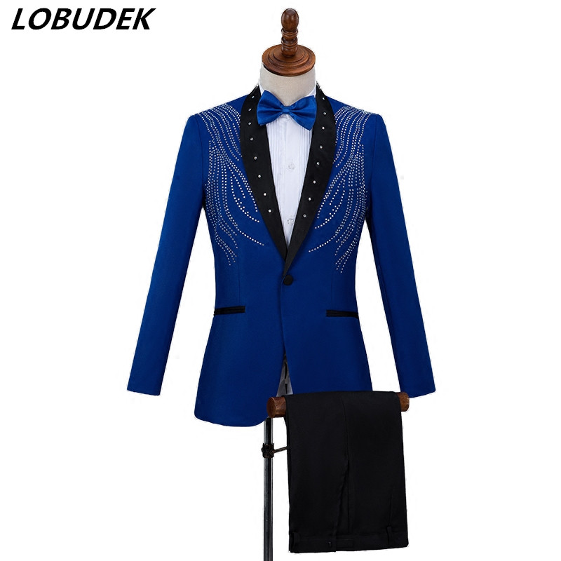 Blue Red White Black Mens Suits Rhinestones suit Adult performance clothes Chorus Bar Singer Host Wedding Master Stage Costume