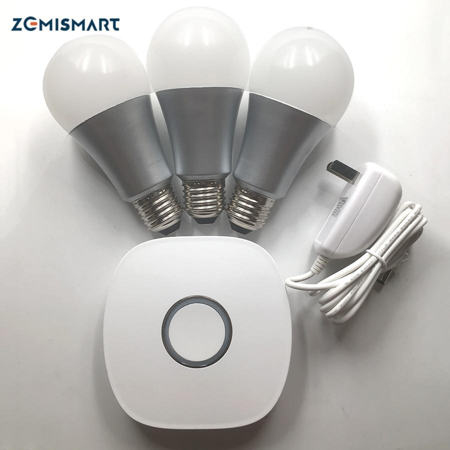 Zemismart zigbee hub with 3 Zigbee RGBW bulbs kit compatilble Amazon echo Alexa or google home
