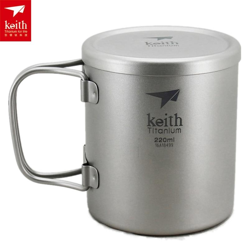 Keith Double paroi 220 ML-600 ML tasse en titane tasse de Camping tasse d'eau Ti3351/Ti3356