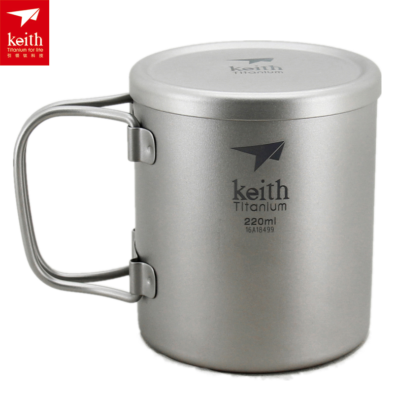 Keith Double-wall 220ML-600ML Titanium Mug Camping Cup Water Cup Ti3351/Ti3356 keith pure titanium double wall water mugs with folding handles drinkware outdoor camping cups ultralight travel mug 450ml 600ml