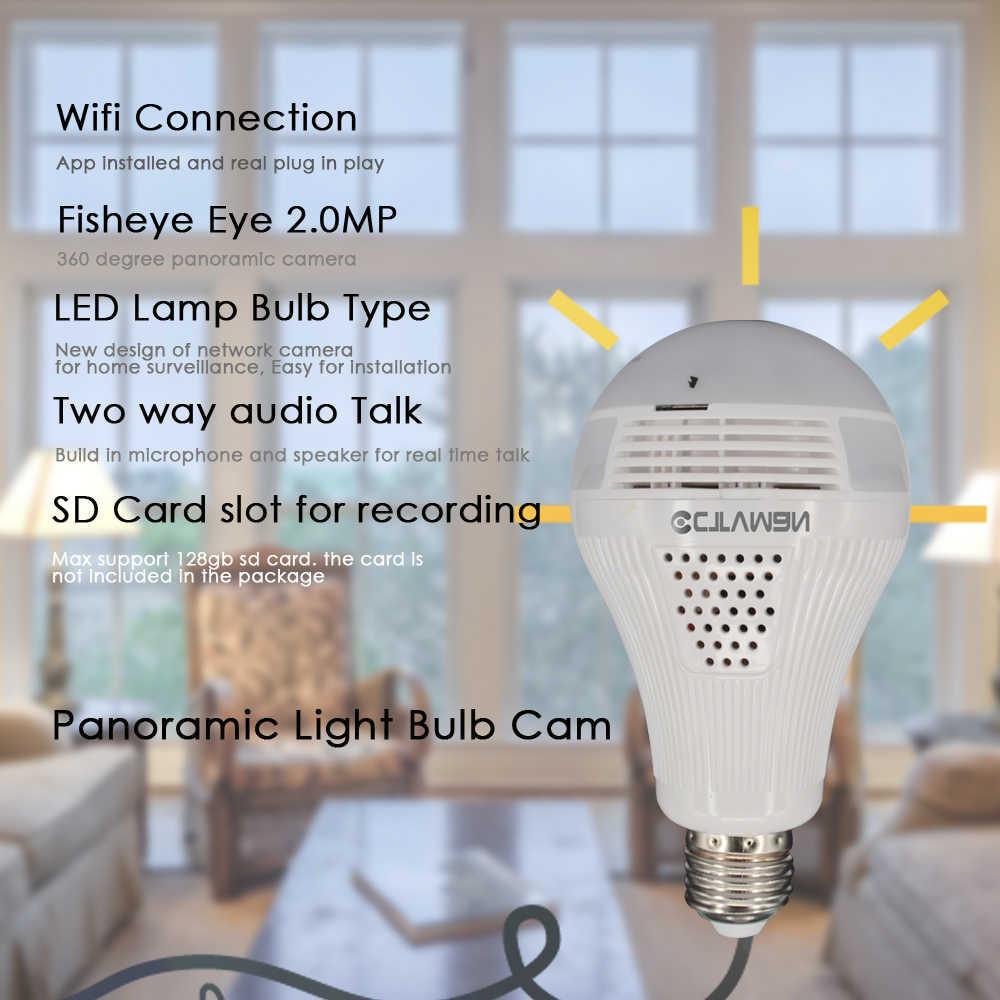CTVMAN панорамная лампочка камера 1080P Full HD 2mp 360 градусов рыбий глаз Wi-Fi беспроводной, со светодиодной подсветкой IP P2P E27 купол VR камера безопасности