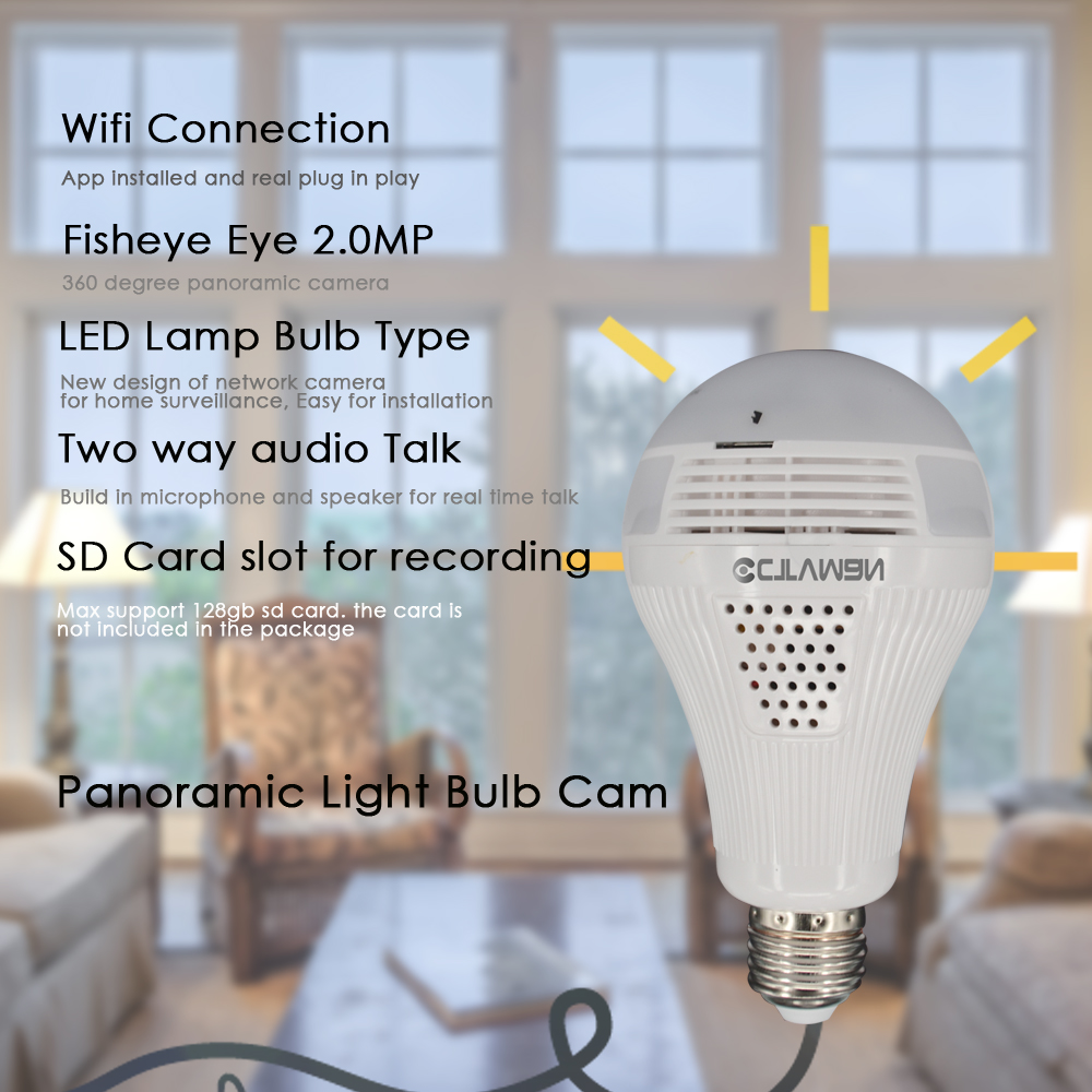 CTVMAN Panoramic Bulb Camera 1080P Full HD 2mp 360 Degree Fisheye Wi fi Wireless LED Light lamp IP P2P E27 Dome VR Security Cam - 2