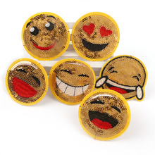 Большая улыбка 6 шт. блестками желтый патчи вышитые железа на патч ткань паста для Детская одежда мешок брюки женское платье для ребенка