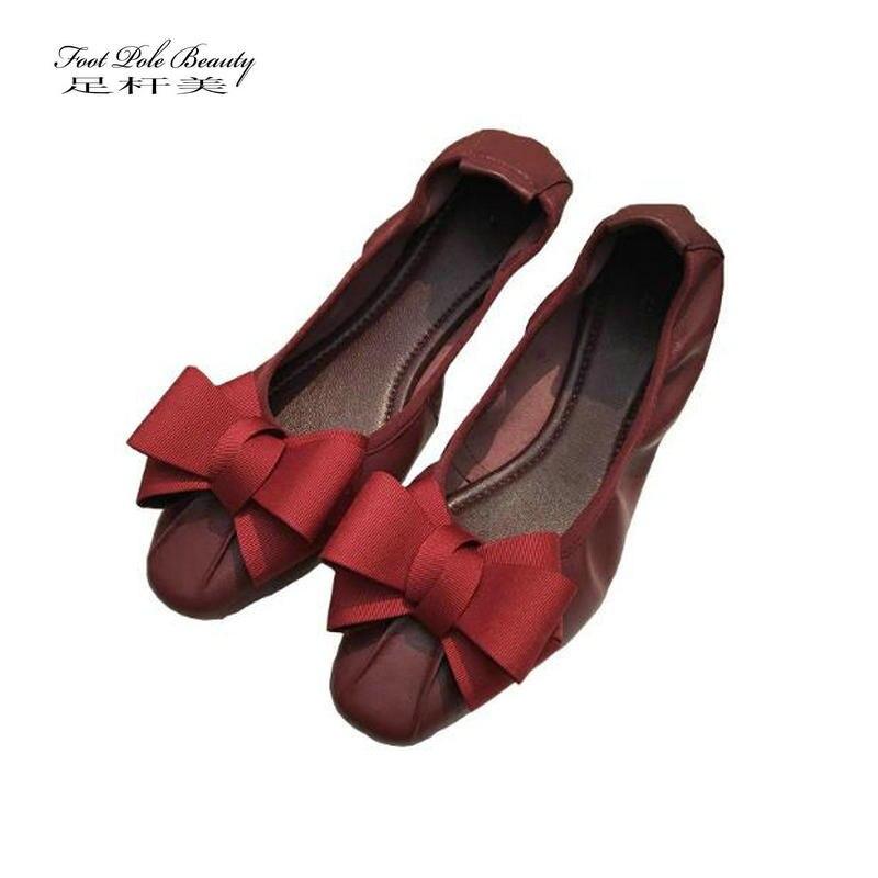 Fashion soft surface bow egg roll shoes sheepskin Ballet flats tenis feminino Genuine leather Comfortable flat