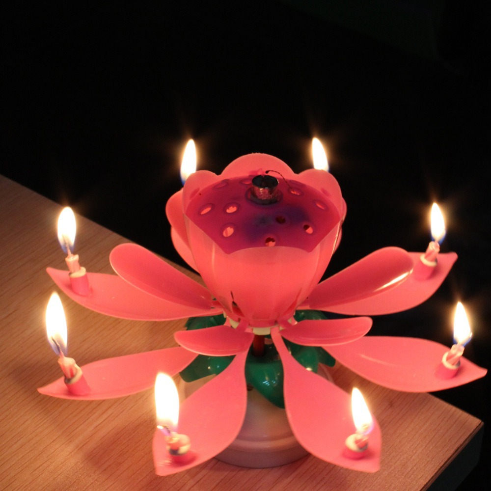 Beautiful musical lotus flower happybirthday party gift for Decoration candles