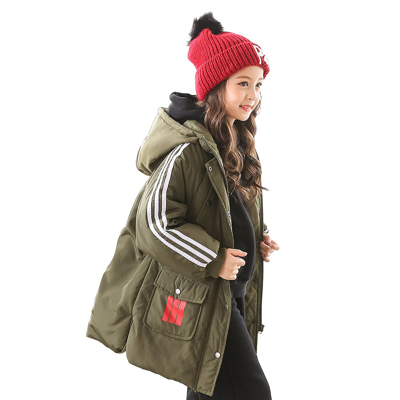 Teenage Girls Long Parka Kids Thick Padded Winter Coat Big Girls Fashion Hooded Parkas for 2017 Winter Size 6 to 14 Years Old nike alliance parka 550 hooded
