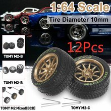 Can mash up 12PCS 1/64 Alloy Wheels Tire Set Axles Vehicle Wheels Tire Modified Alloy Car Refit Wheels For Vehicle Car Model(China)