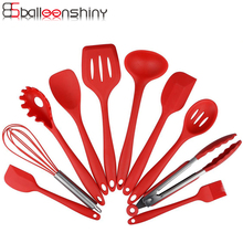 BalleenShiny Silicone 10pcs/set Cooking Utensil Sets Heat Resistance Spatula Spoon Clip Non-stick Baking Pastry Kitchenware