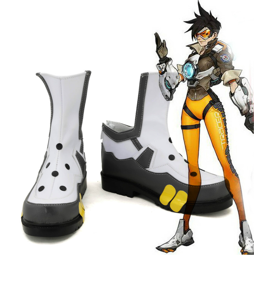OW Cosplay Shoes Tracer Lena Oxton Cosplay Boots Women Hidden Heel Shoes Sneaker New