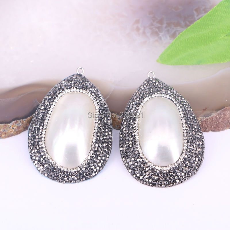 Fashion 8Pcs Water Drop Big Shell Pave Rhinestone Charms Pendants Jewelry Gift