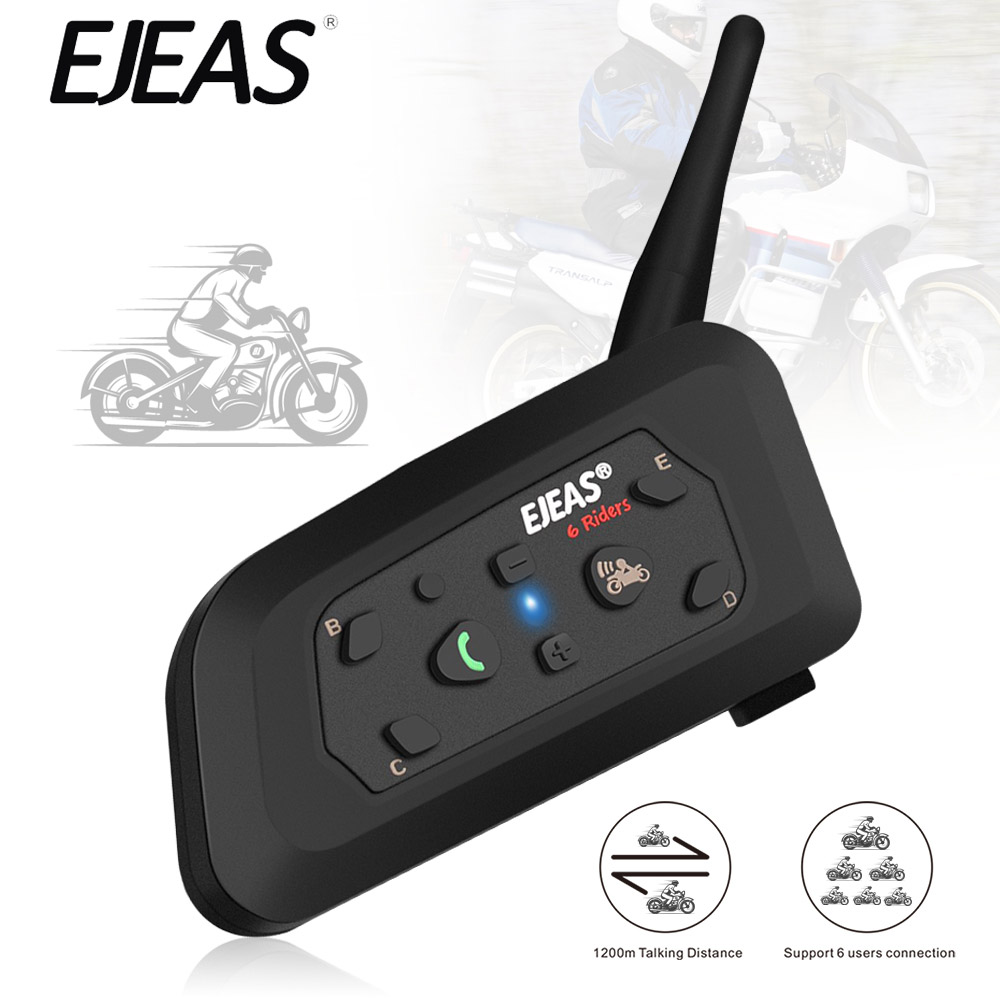 EJEAS V6 Pro Intercom Helmet Headset Motorcycle Intercom 850mAh Microphone Phone MP3 1200m Communicator Interphone For