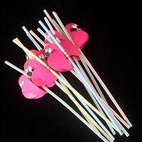 50 Pçs/lote 3D Flamingo Palha Decoração de Casa Bendy Palhas Bebendo Flexíveis Crianças festa de Aniversário/Casamento/Piscina Decoração Do Partido Suprimentos