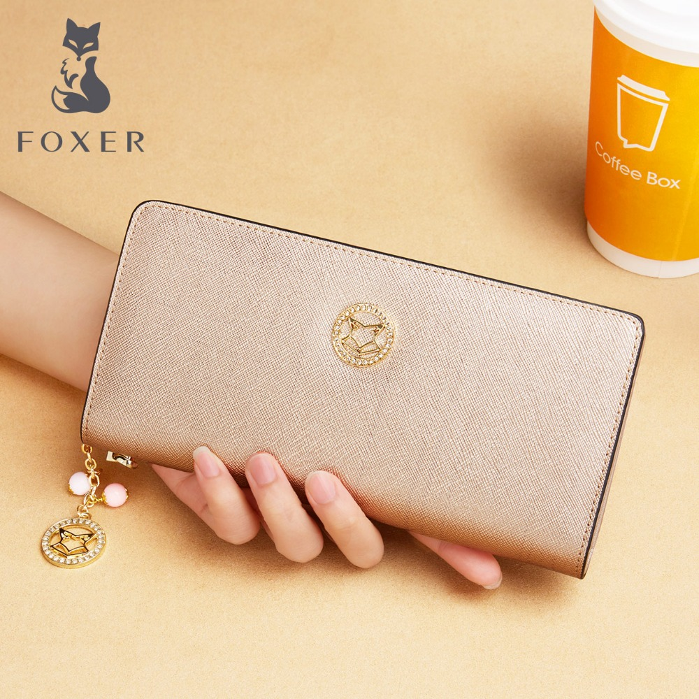 FOXER Coin Purse Wallets Women Card-Case Leather Phone Zipper Fashion Brand Long Female