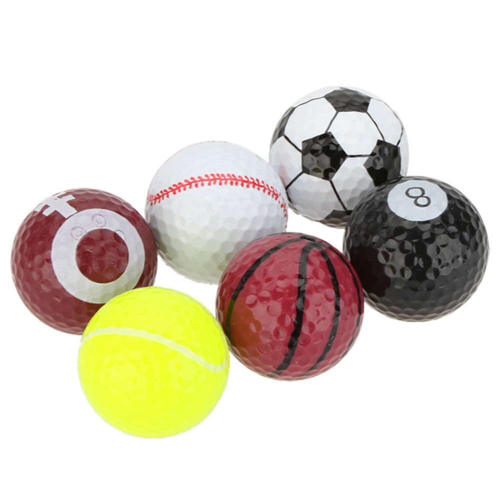 Sports practice golf ball 6 pieces/lot gift set fancy ball many kinds of pattern ball outdoor exercise two layer sports ball
