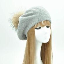 Las mujeres boinas sombrero lana sombrero de invierno para las mujeres Cap  Natural Real Raccoon Fur Pompom boina femenina Cachem. 3c1b3d8fcbf