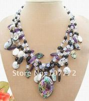 Coin Pearl Paua Abalone Shell Necklace