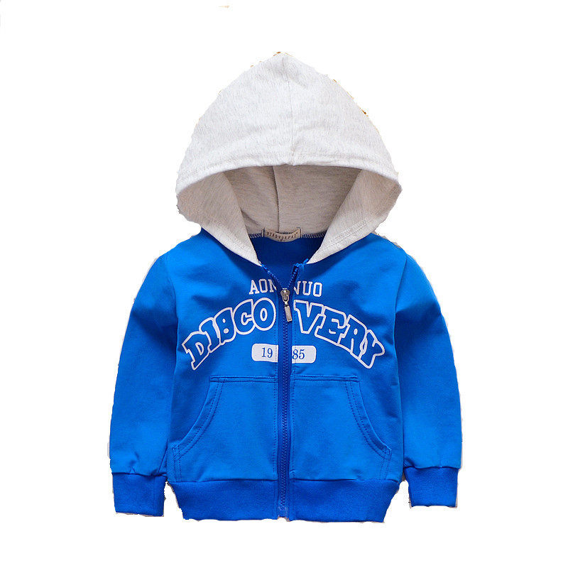2018 Spring Autumn Baby Outwear Boys Coat Children Girls Clothes Kids Letter Printing Zipper Hooded Sweatershirt Toddler Jacket