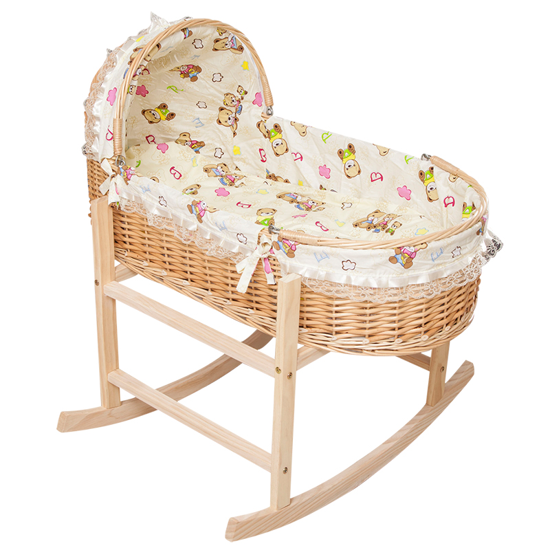 Rattan Baby Cradle Bed Crib Solid Wood Newborn Cradle Sleeping Basket Baby Bed Appease Shaker Portable Shopping Basket Baby Cot hot sale electric baby cradle automatic swing baby shaker baby cribs bear weight less than 25kg pink blue baby sleeping basket