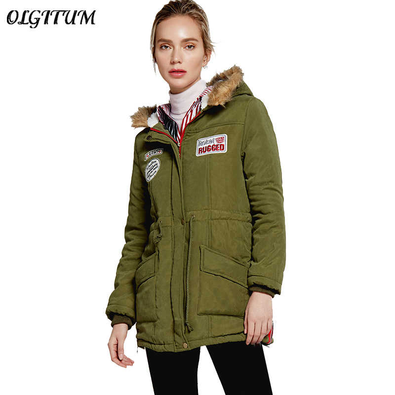 b3e92dde6 New Military Loaded Cotton Coat 2019 Women Winter Warm Lambswool Parkas  Long Hooded Army Green Outwear Winter Female Jacket Hot