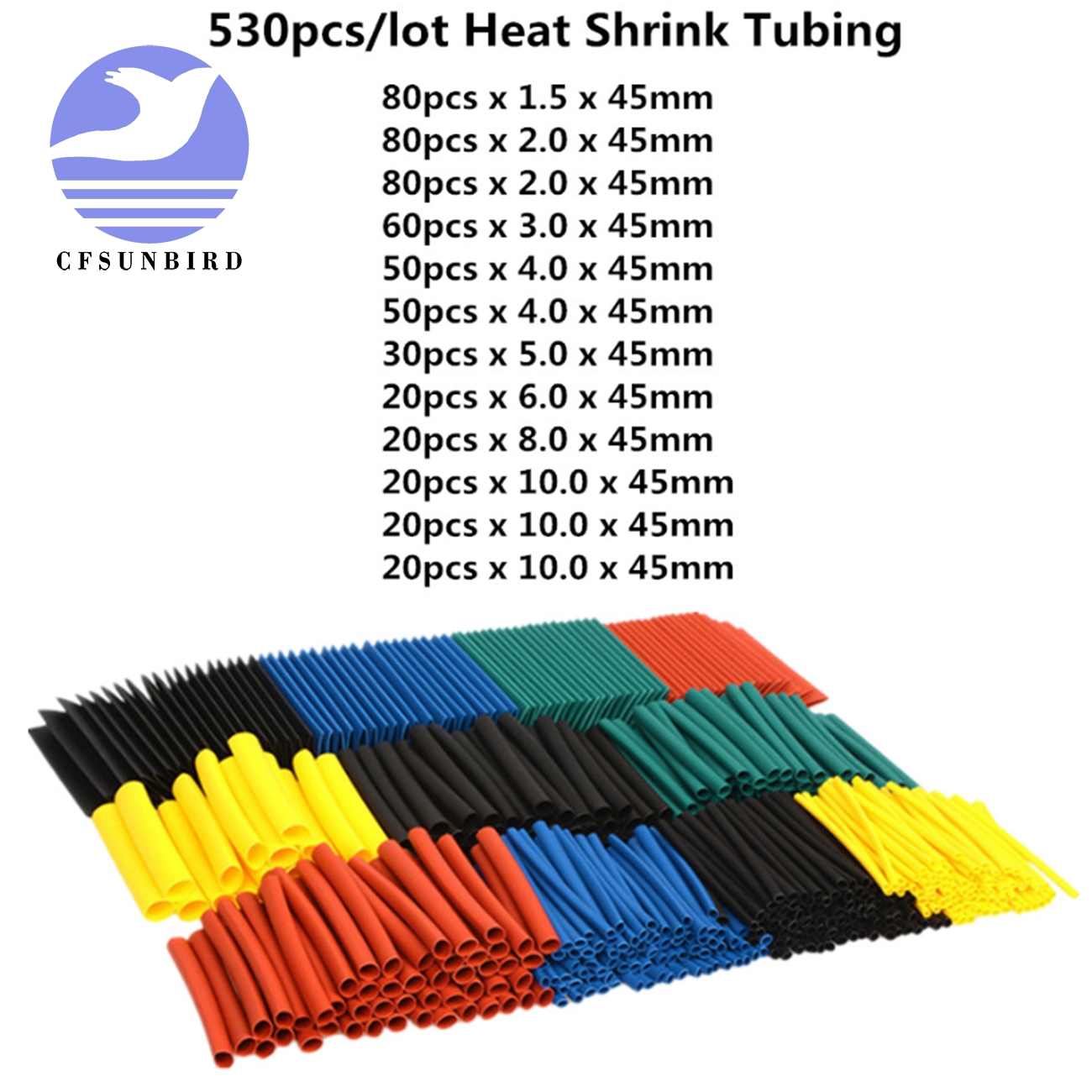 530pcs/set Sleeving Wrap Wire Car Electrical Cable Tube kits Heat Shrink Tube Tubing Polyolefin 5 Sizes Mixed Color