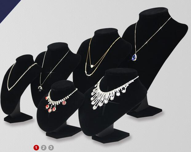 Model Bust Show Exhibitor 6 Options Black Velvet Jewelry Display Necklace Pendants Mannequin Jewelry Stand Organizer