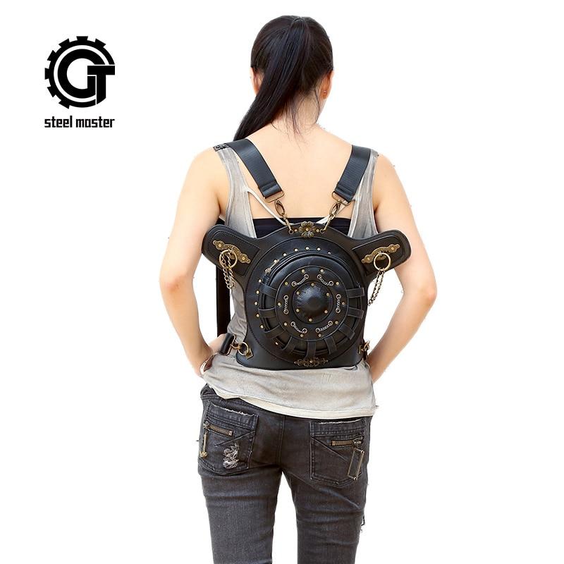 Steampunk Backpack bags PU Leather Punk Retro Rock Bag Halloween 2017