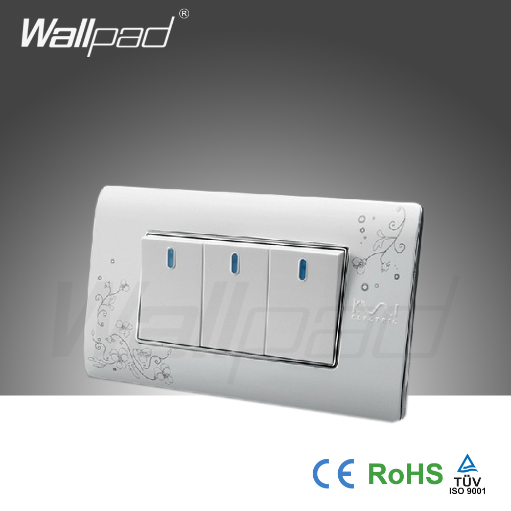 3 Gang 2 Weg Wallpad Luxus Wand Schalter Panel Licht Schalter Push ...