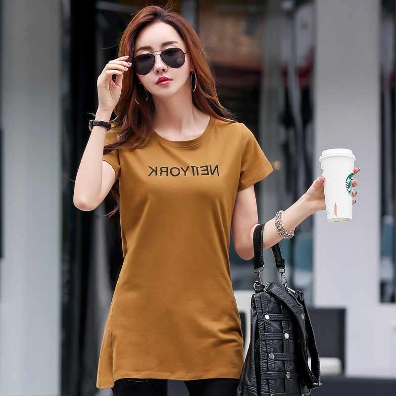 S-4XL, летние хлопковые футболки с короткими рукавами, круглый вырез, средняя длина, базовая футболка, женская футболка, хлопок, плюс размер, свободные топы, 4 цвета
