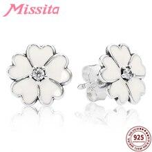купить MISSITA 100% 925 Sterling Silver Lucky Clover Earrings For Women Silver Jewelry Brand Wedding Stud Earrings HOT SELL Gift дешево