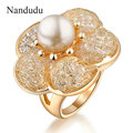 Nandudu Gold Plated flower Ring Charming elegant fashion Female Rings Jewelry Gift R116