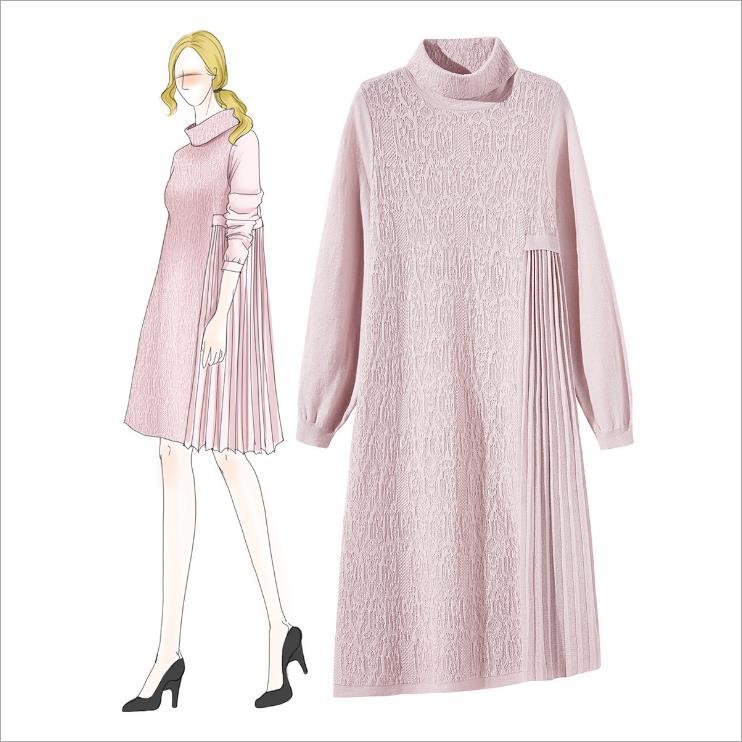 Hiver femmes vêtements bureau dame col roulé robe géométrique à manches longues Slim laine tricot robe femme a-ligne lâche robe D300