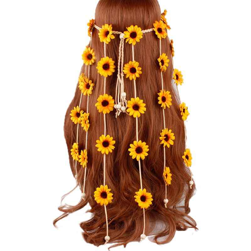 Women Girls Festival Bohemian Artificial Sunflower Headband Braided Adjustable Colorful Daisy Crown Hair Wreath Bridal Headpiece