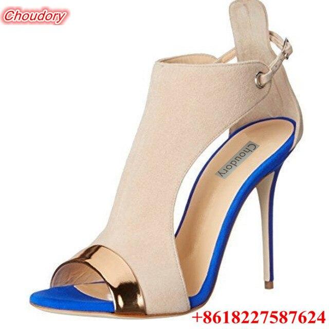 nueva llegada 2ce16 86121 € 72.33 |Peep Toe de verano Elegante Mujer Sandalias 11 cm de Tacón Alto  sandalias Zapatos de Las Señoras de Color Blanco Cremoso Vaca Suede Tacones  ...