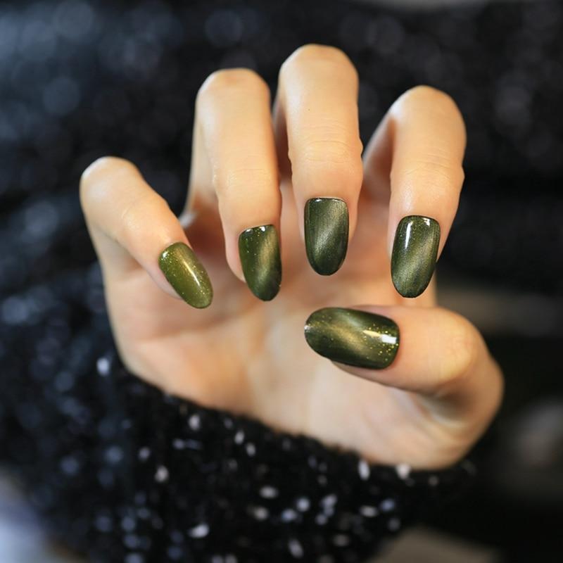 24pcs Army Green Cat Eyes Fake Nail Tips Acrylic False Nails Full ...