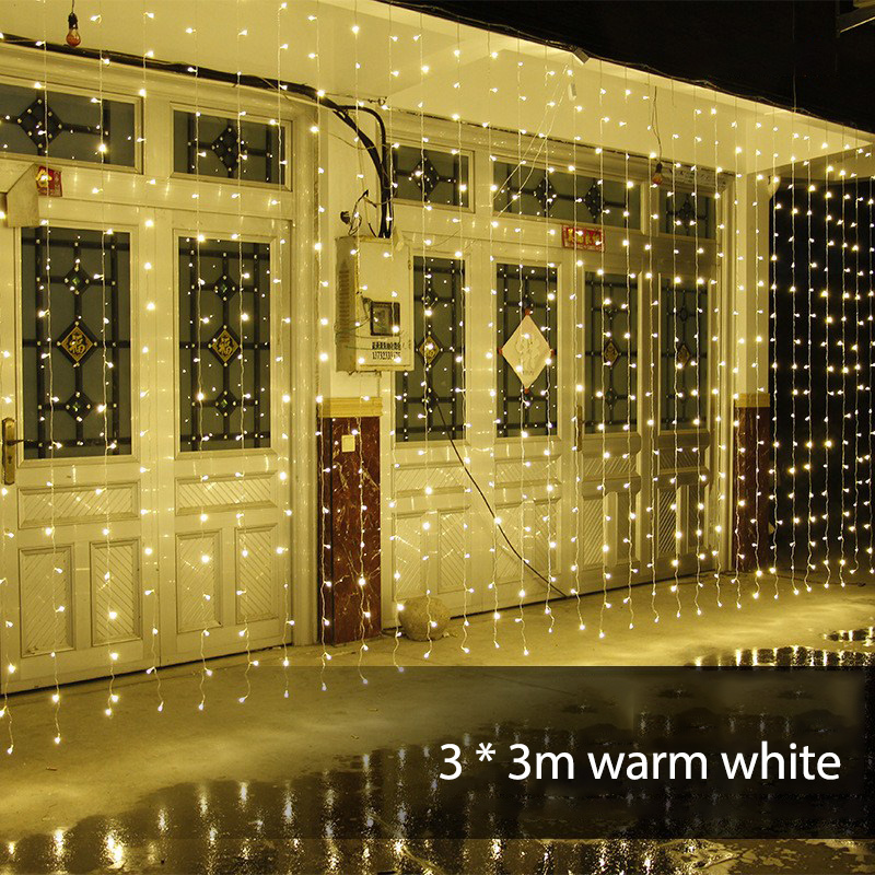 220V 3Mx3M 304 LED Fairy String Hanging Icicle Snowing Curtain Light Outdoor Xmas Christmas New Year Party Decorations