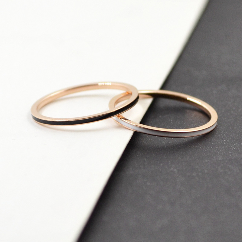 2019 New Fashion Super Thin Wide 1 MM Tail Ring Lady's Gift for Woman Rose Gold Color Titanium Steel Jewelry Never Fade