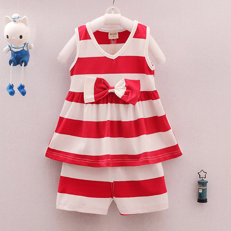 UPMSO Infant clothes toddler children summer baby girls clothing sets stripe 2pcs clothes sets girls summer set sport suit set бусы из натурального жемчуга ажур