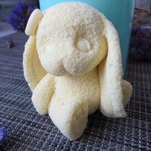 Molde de silicona para jabón con forma de conejo 3D, molde aromático para hacer jabón con forma de vela de animal, moldes de arcilla de resina DW0106