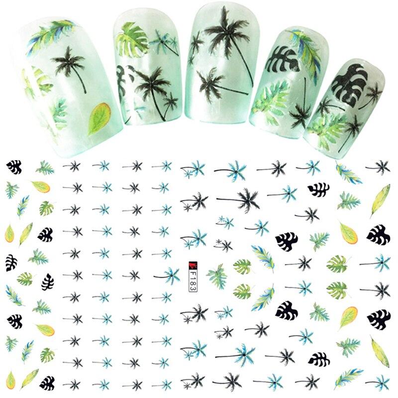 1 Sheets 3D Nail Sticker Palm Tree Green Black Summer Sticker DIY Adhesive Tips Nail Art Decorations Women Nail Decals CHF183(China)