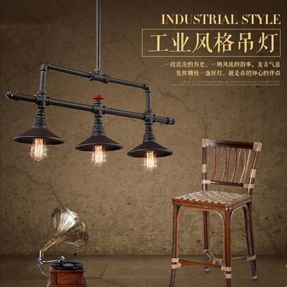 Edison Industrial Retro Loft estilo luzes pingente Vintage Fxitures 3 luzes Bar sala de jantar corda lâmpada tubo de suspensão luminária