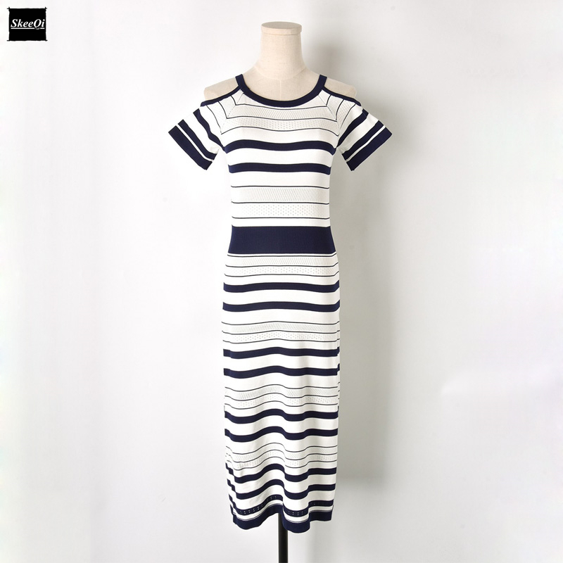 Runway Design 2018 New Basic Knit Sweater Dresses Women Off Shoulder Striped Knitted Slim Casual Dress Summer Knitwear Vestidos