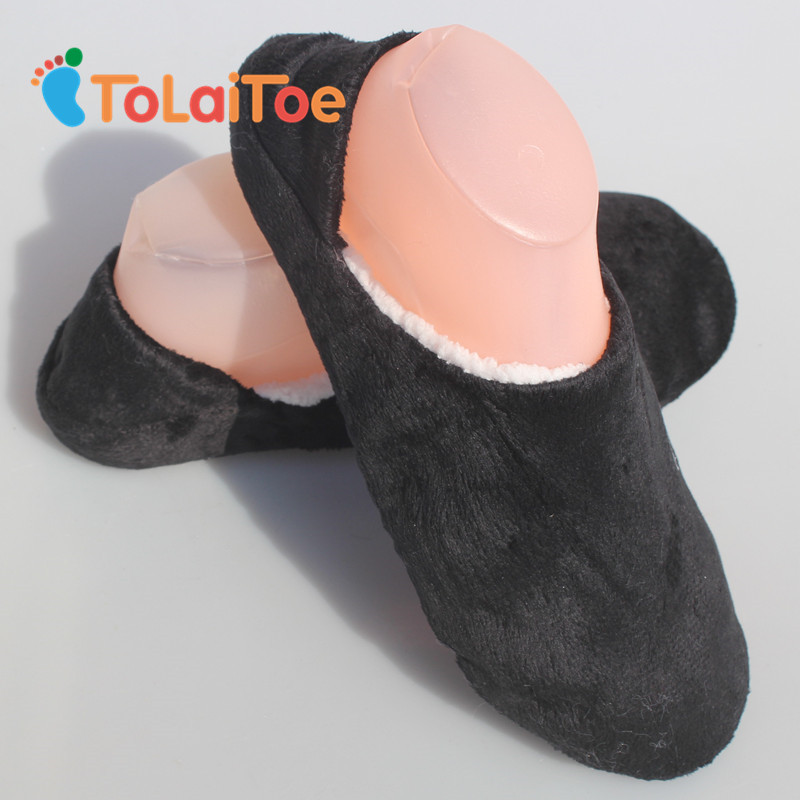 ToLaiToe New Men's Non-Sole Slipper Household Shoes Black Woolen Slippers Flannel Flat Home Slippers Warm Soft 1 Pair One Size woolen monster house shoes slippers color assorted pair