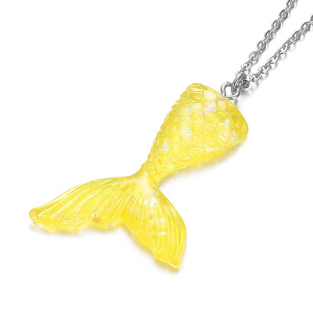 حورية البحر الذيل قلادة قلادة 45 سنتيمتر 50 سنتيمتر 60 سنتيمتر الوردي الأزرق الألوان ذيل السمكة اليدوية مجوهرات لطيف هدايا عيد للفتيات
