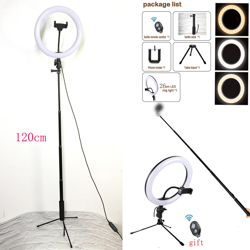 Studio Camera Ring Light Dimmable LED Phone Photo Video Light Annular Lamp With Tripods Selfie Stick