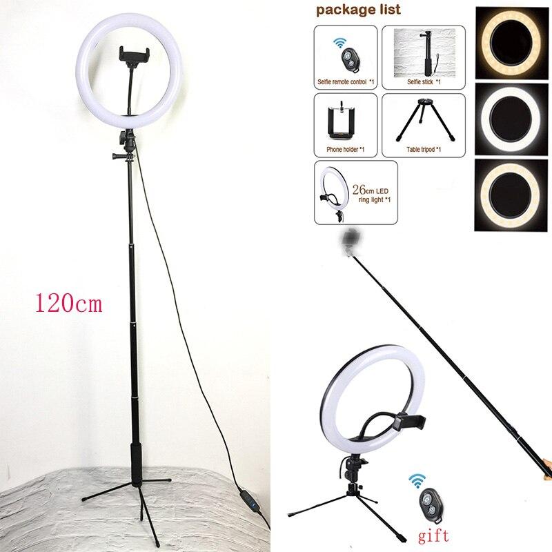 Studio Camera Ring Licht Dimbare LED Telefoon Foto Video Light Ringvormige Lamp Met Statieven Selfie Stok Ring Licht Invullen Voor camera-in Fotografieverlichting van Consumentenelektronica op  Groep 1