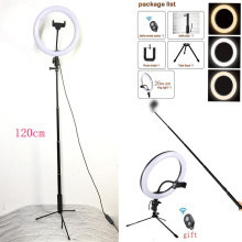 Studio Camera Ring Light Dimmable LED Phone Photo Video Annular Lamp With Tripods Selfie Stick Fill For