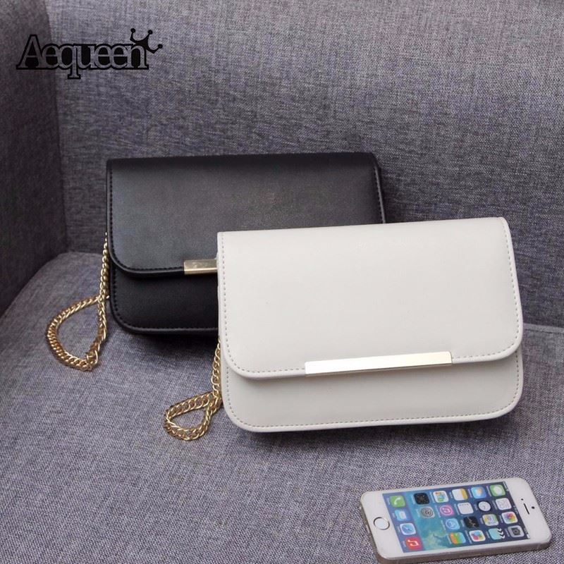 Women Bags Pu Leather Small Messenger Bag Solid Fashion Simple Crossbody Single Chain Girls Mini Flaps Shoulder Bolsa