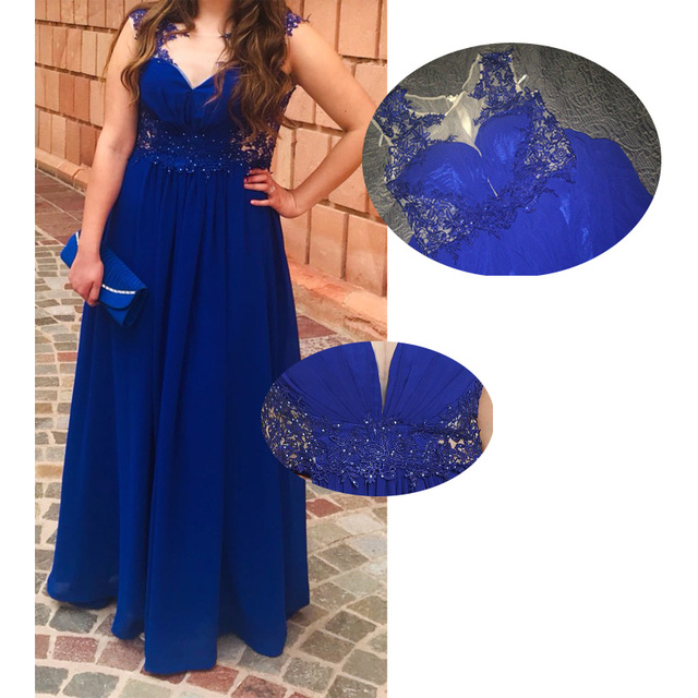 Dressv dark royal blue plus size evening dress elegant scoop neck cap sleeves wedding party formal dress a line evening dresses 6