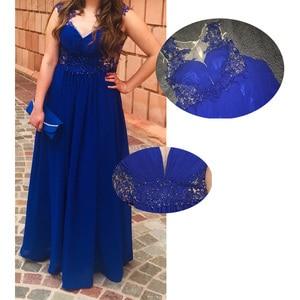 Image 5 - Dressv dark royal blue plus size evening dress elegant scoop neck cap sleeves wedding party formal dress a line evening dresses